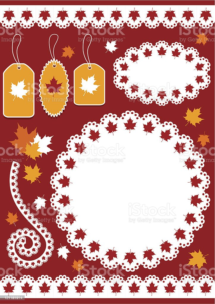 Autumn set for scrapbook with doily. royalty-free stock vector art