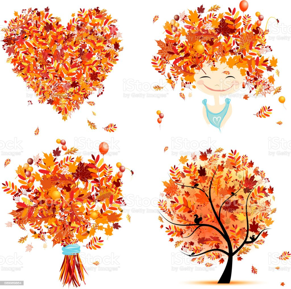 Autumn set for your design: girl, bouquet, tree, heart vector art illustration