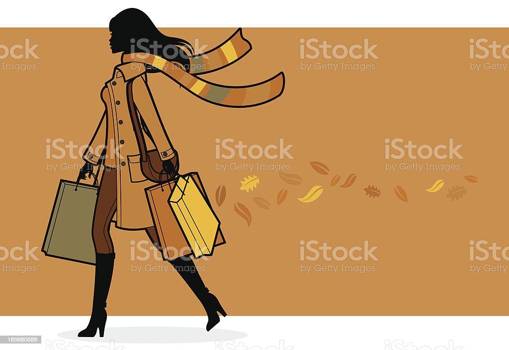 Autumn Shopper royalty-free stock vector art
