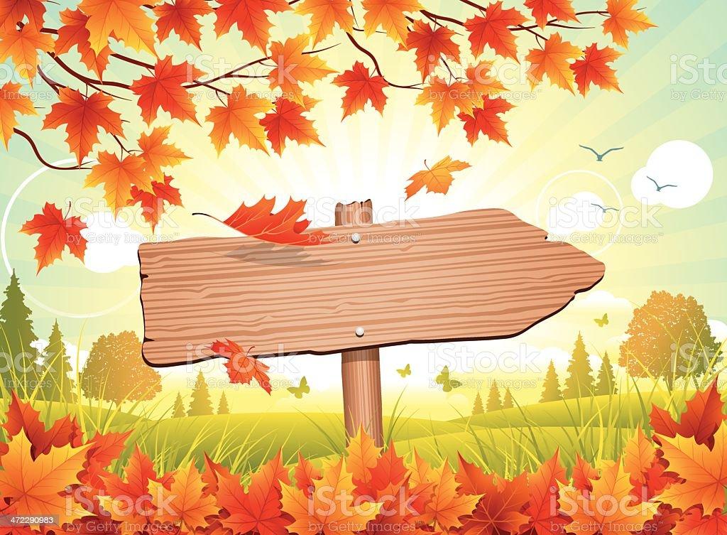 Autumn Sign vector art illustration