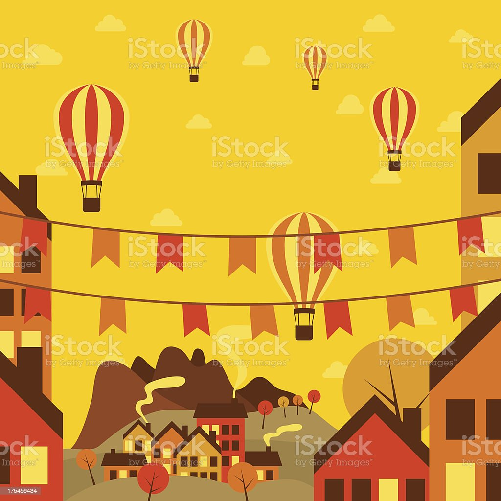 Autumn small town with air balloons royalty-free stock vector art