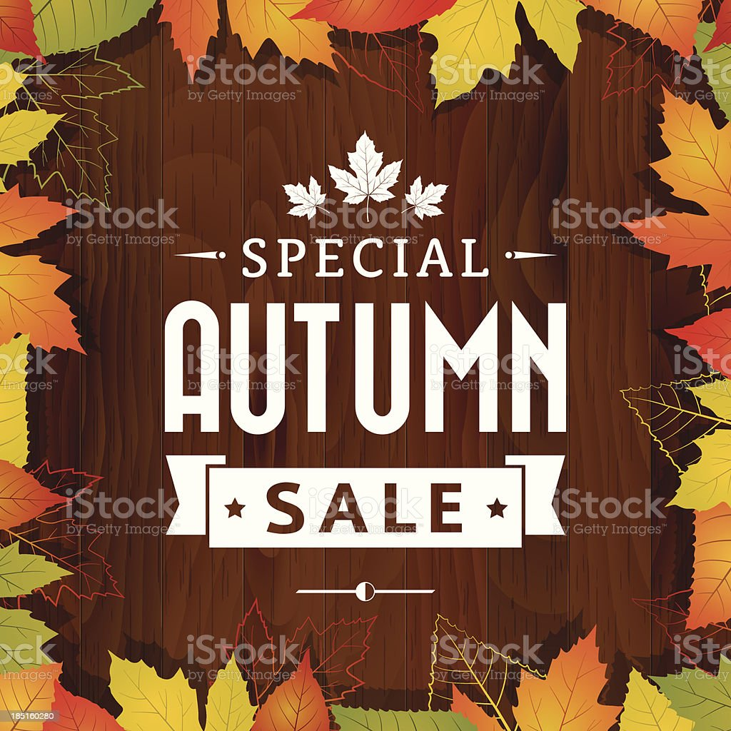 autumn special sale vintage vector typography poster on wood background vector art illustration