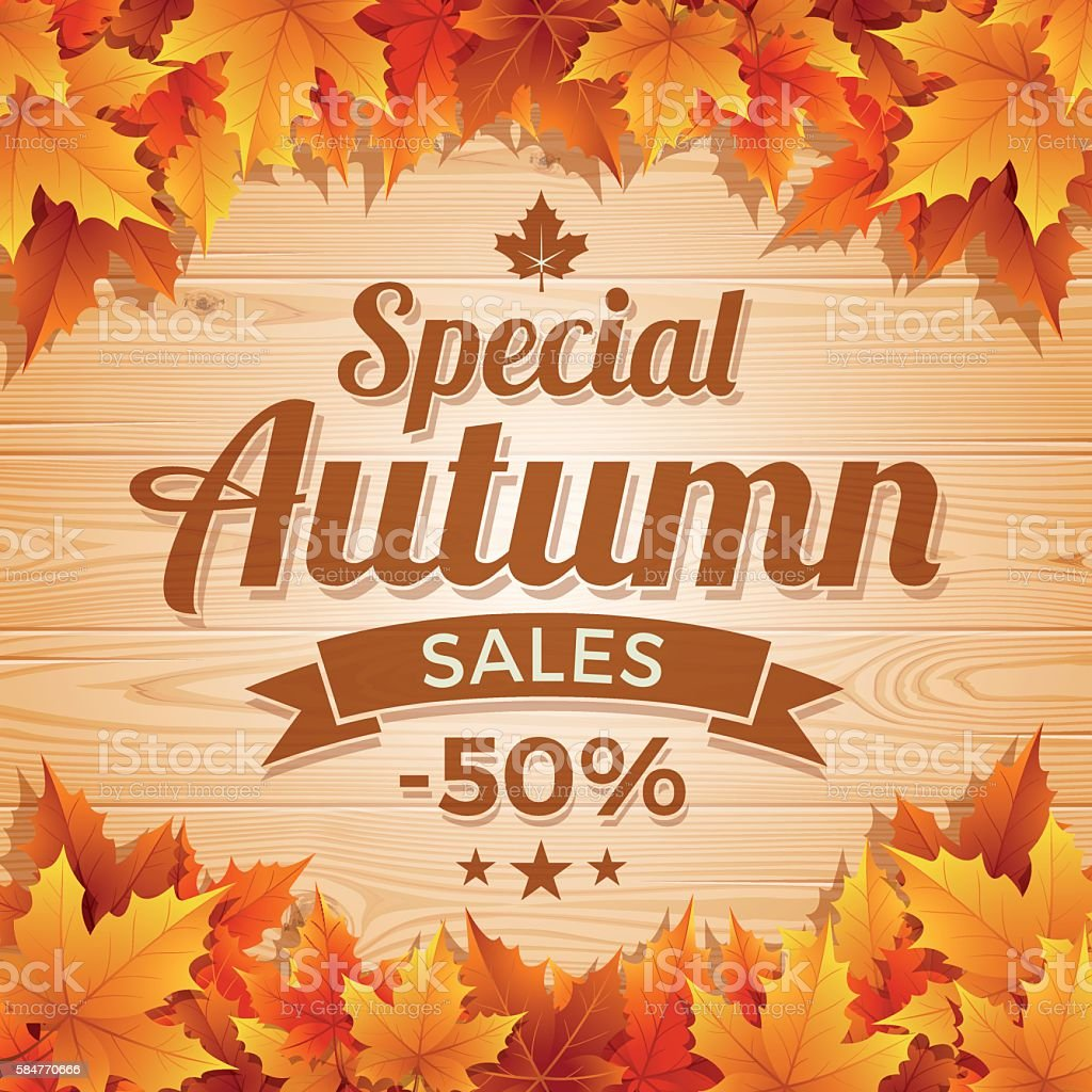 Autumn Special Sales on wood background vector art illustration