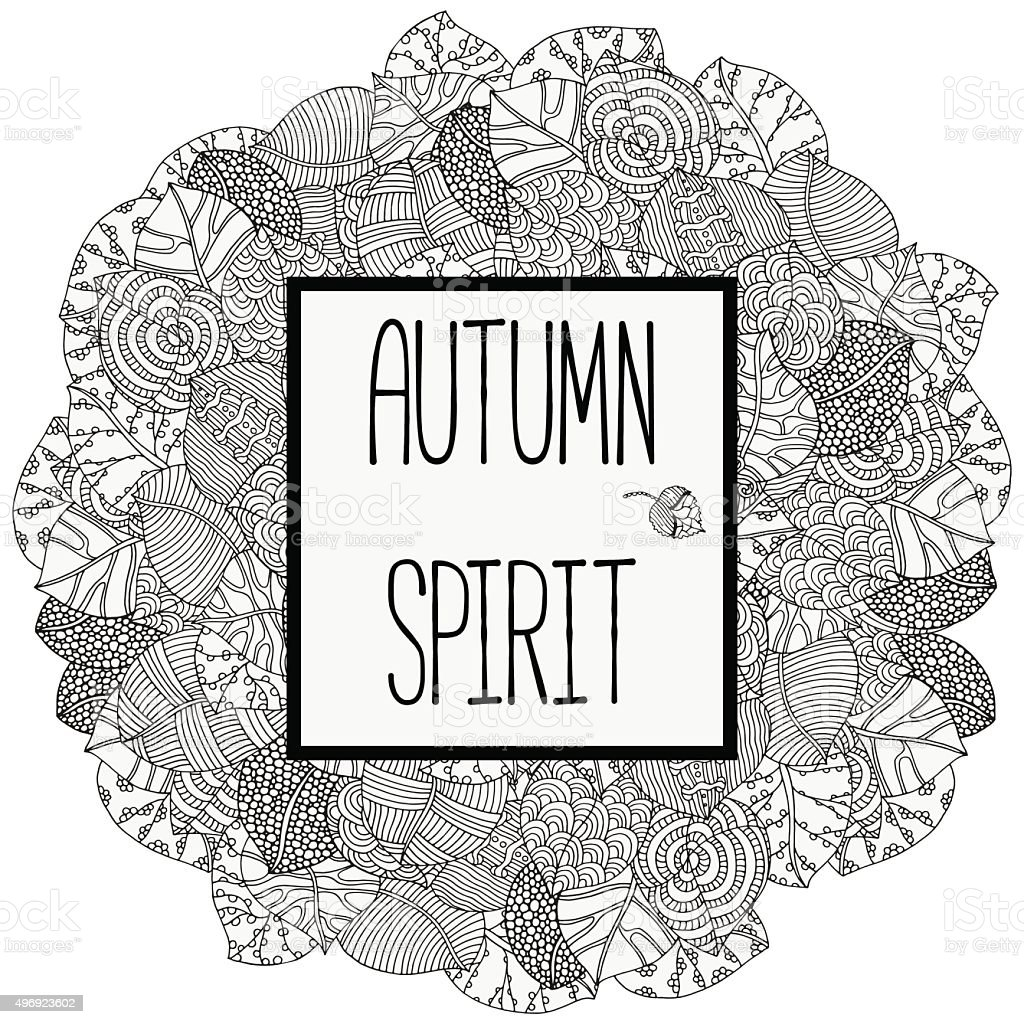 Autumn spirit background. Circle leaf ornament. vector art illustration