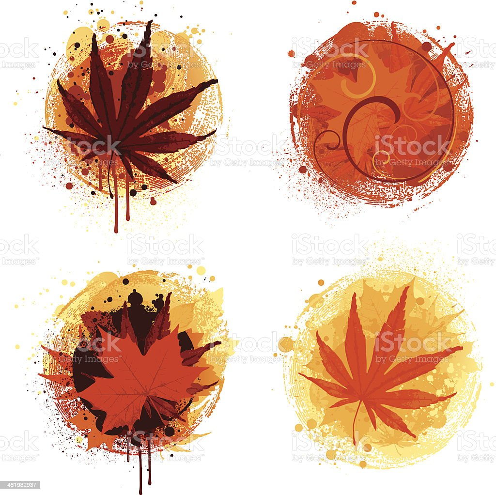 Autumn splats vector art illustration