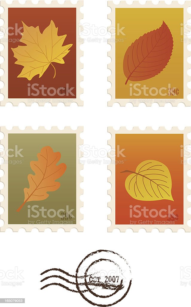 Autumn Stamps royalty-free stock vector art