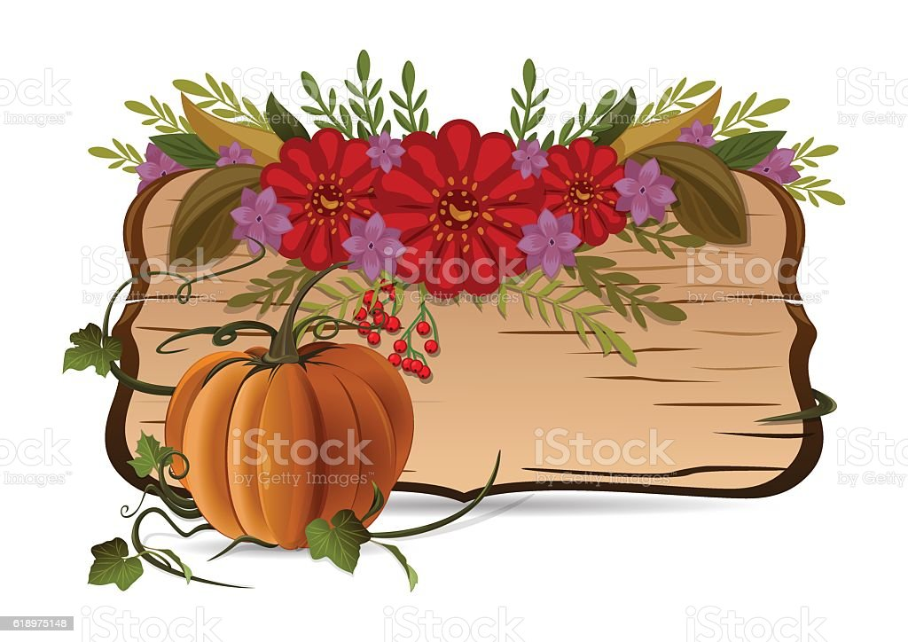 Autumn still life with pumpkin, flowers and vintage wooden board vector art illustration