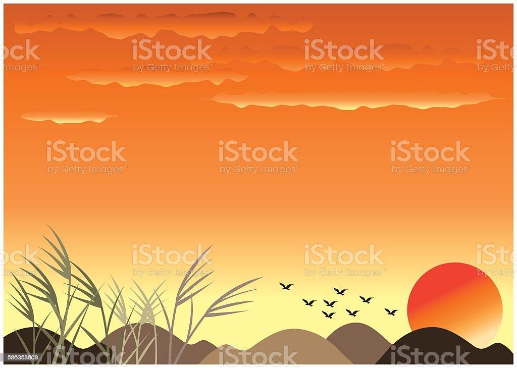 autumn sunset background vector art illustration