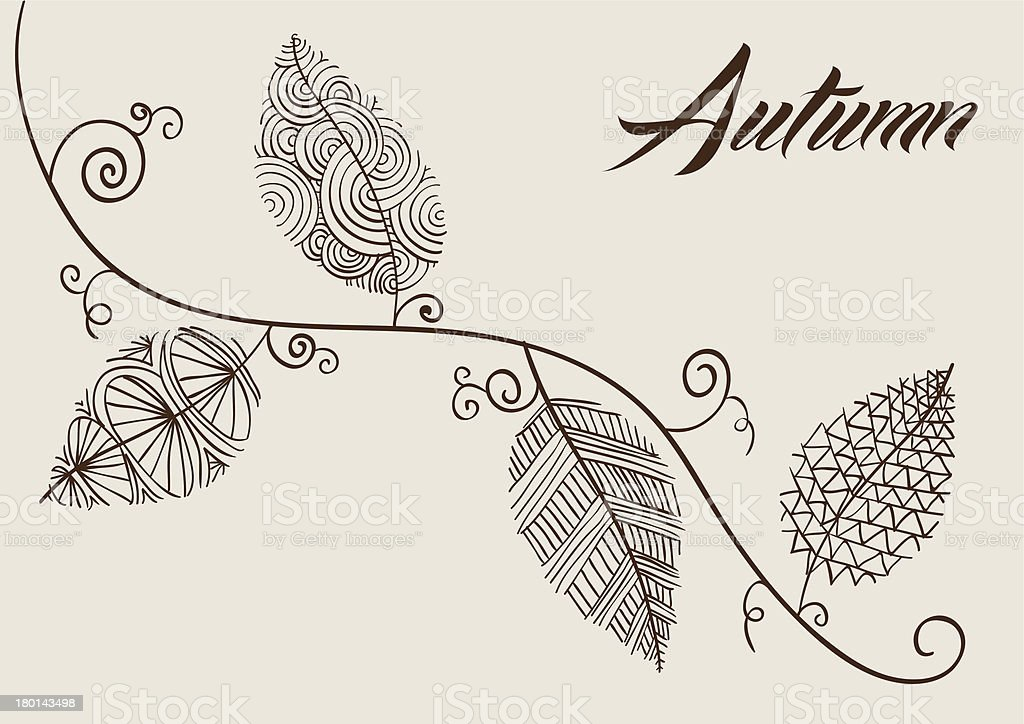 Autumn text curly tree branch sketch style details inside leaves. royalty-free stock vector art