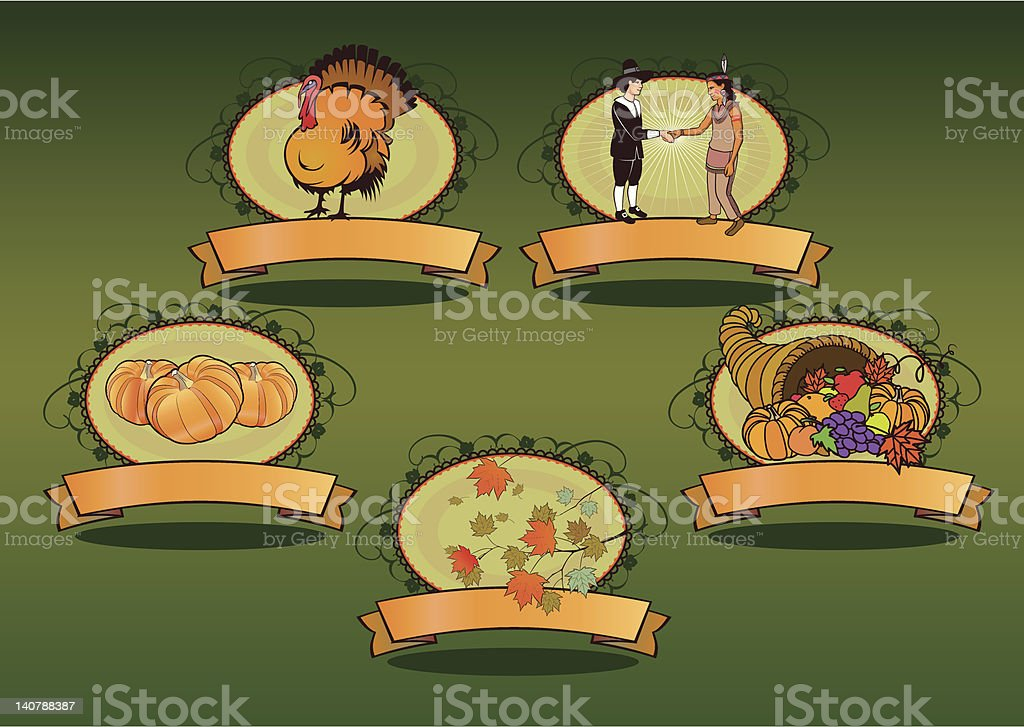 autumn thanksgiving cornucopia elements royalty-free stock vector art
