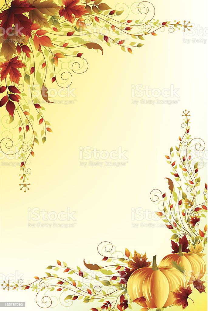 A autumn themed background with pumpkin borders royalty-free stock vector art