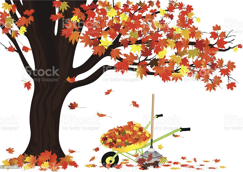 Autumn Tree and A Wagon Full Of Leaves vector art illustration