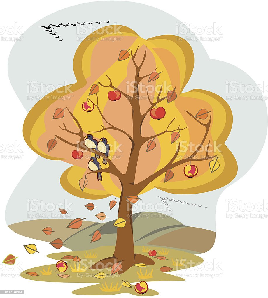 autumn tree - four seasons vector art illustration