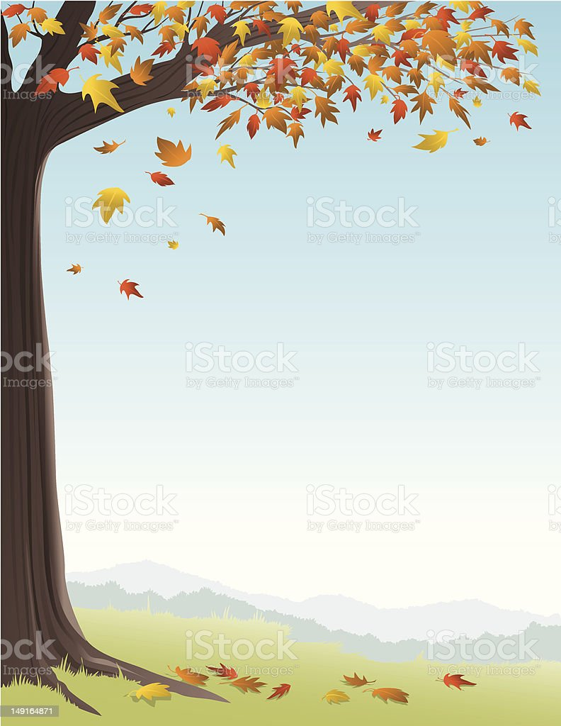 Autumn Tree on Hill royalty-free stock vector art