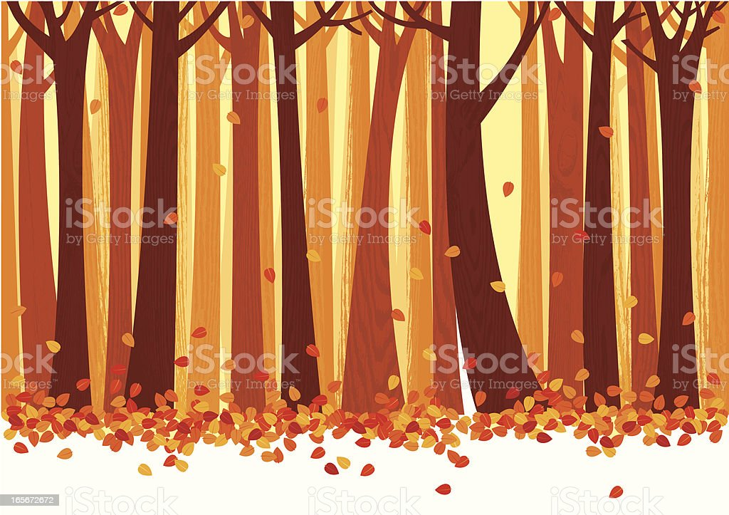 Autumn Trees and Leafs Background vector art illustration