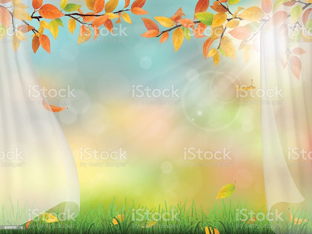 autumn trees branches and curtain vector art illustration