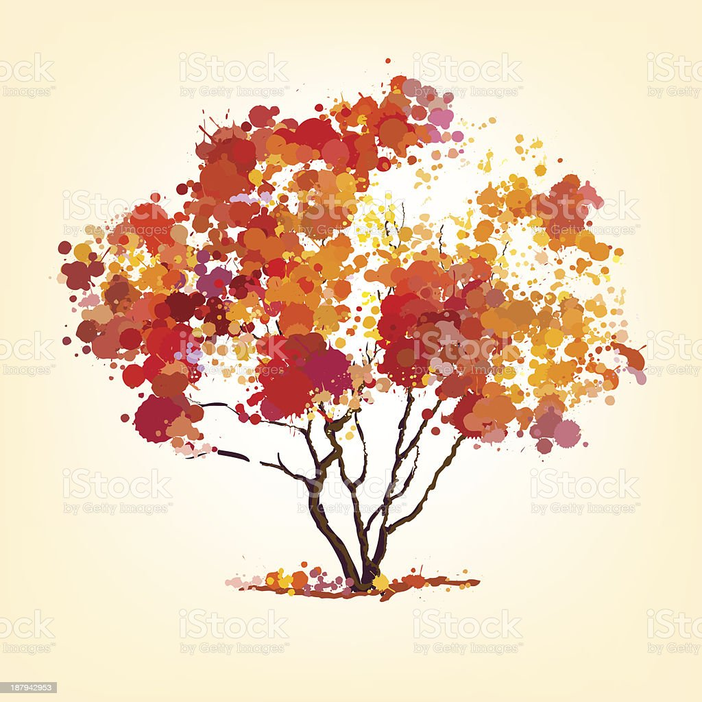 autumn vector tree of blots vector art illustration