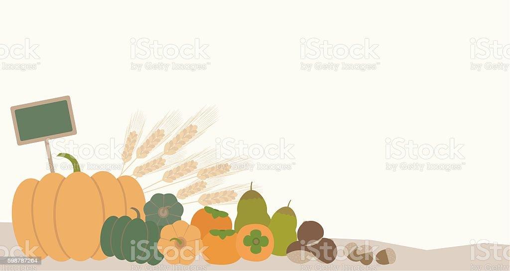 autumn vegetables vector art illustration