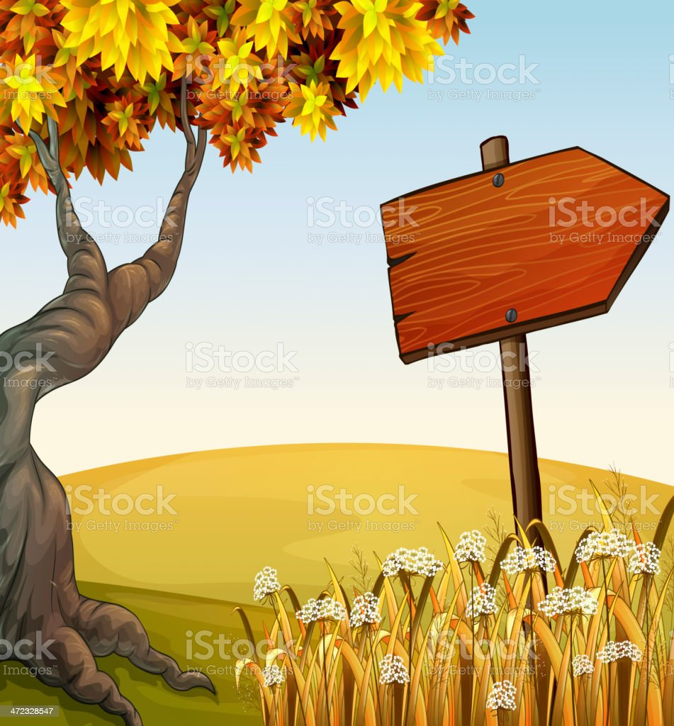 Autumn view in the hill royalty-free stock vector art