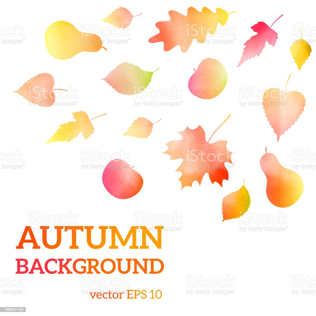 Autumn watercolor leaves royalty-free stock vector art