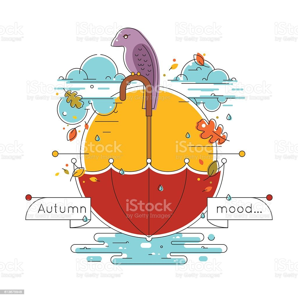 Autumn weather vector illustration in linear style. Autumn concept vector art illustration