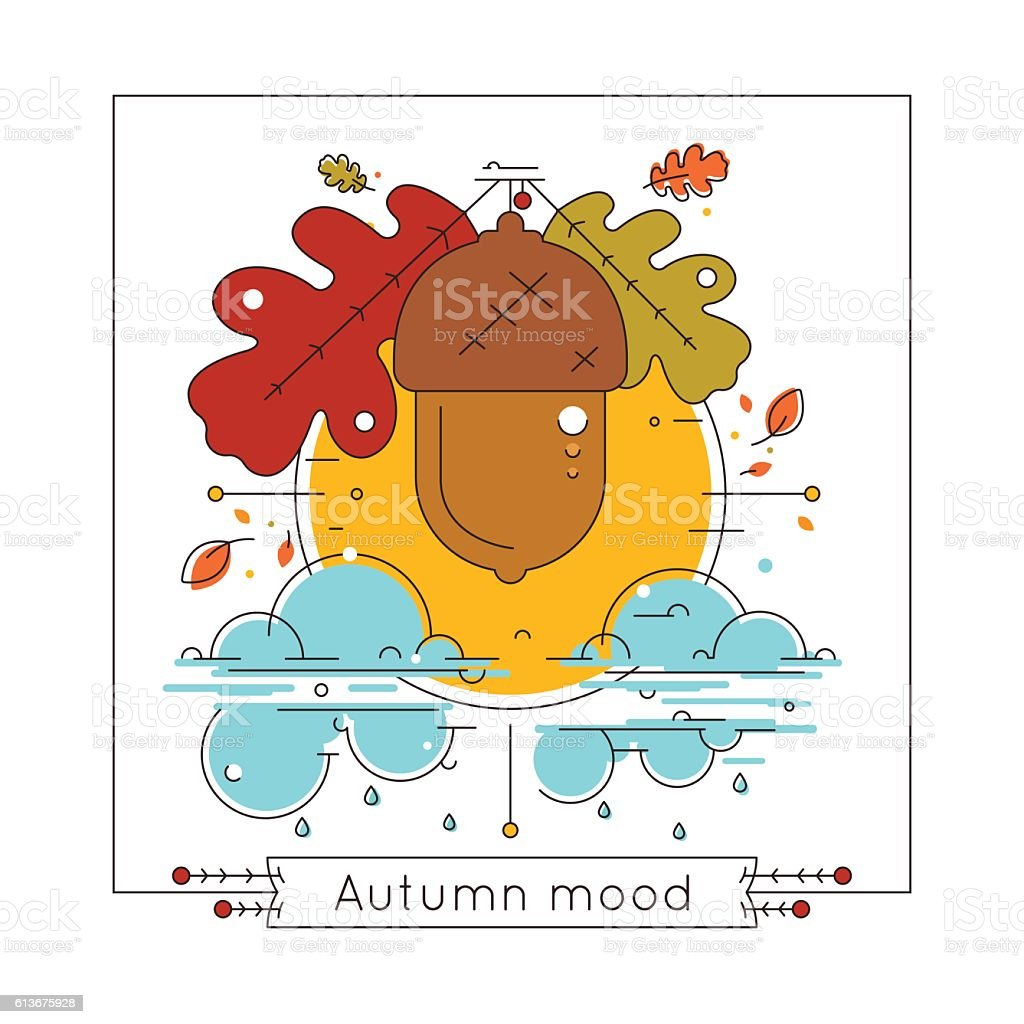 Autumn weather vector illustration in linear style. Autumn mood concept vector art illustration