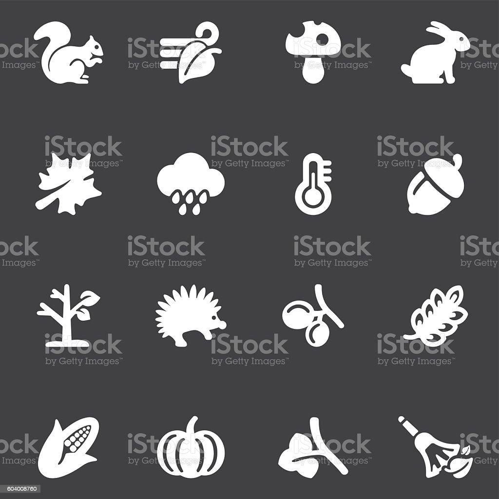 Autumn White Silhouette icons | EPS10 vector art illustration