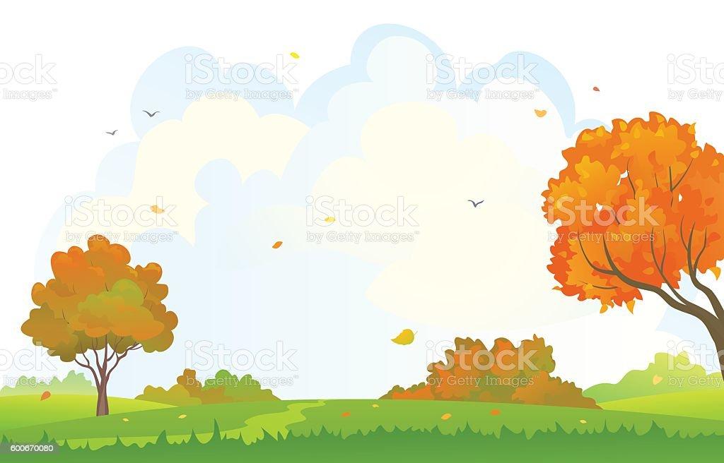 Autumn woods background vector art illustration