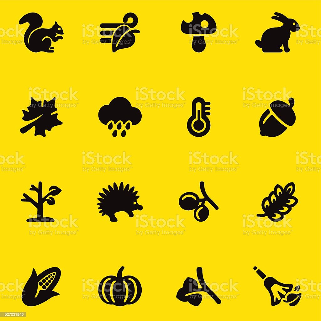 Autumn yellow Silhouette icons | EPS10 vector art illustration