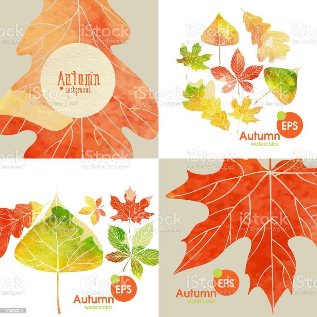 Autumnal Background Set vector art illustration