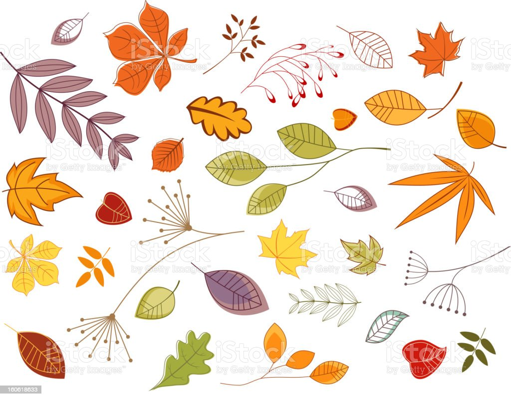 Autumnal leaves and plants royalty-free stock vector art