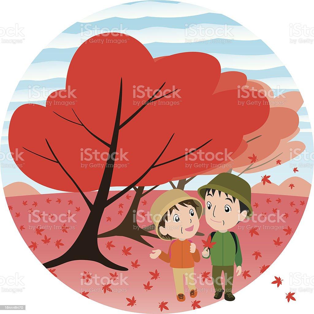 autumn-leaf viewing vector art illustration
