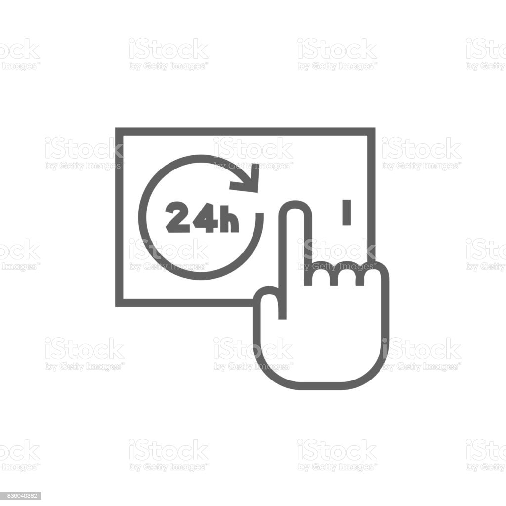 Available around the clock line icon vector art illustration