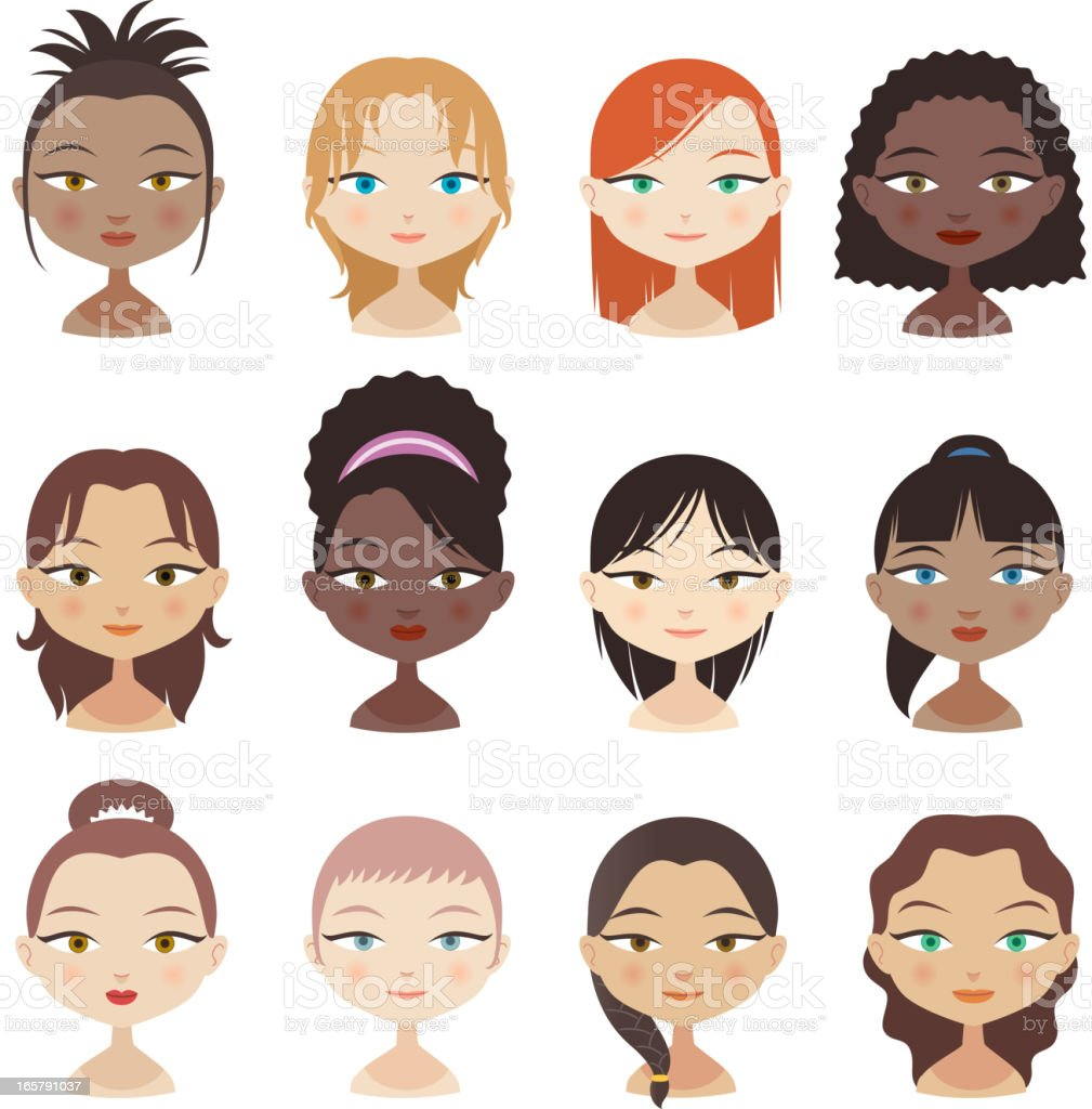 Avatar Avatars Head and Shoulder People Profile Girl Faces royalty-free stock vector art