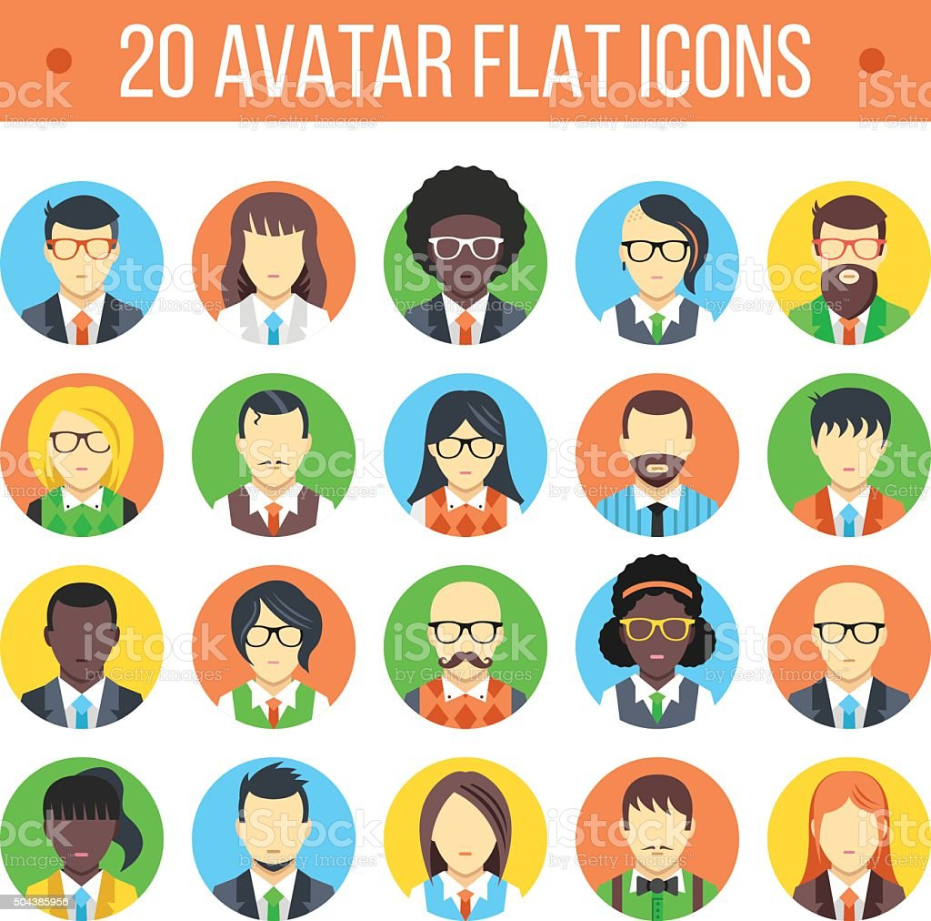 20 avatar flat icons. Male and female faces vector art illustration