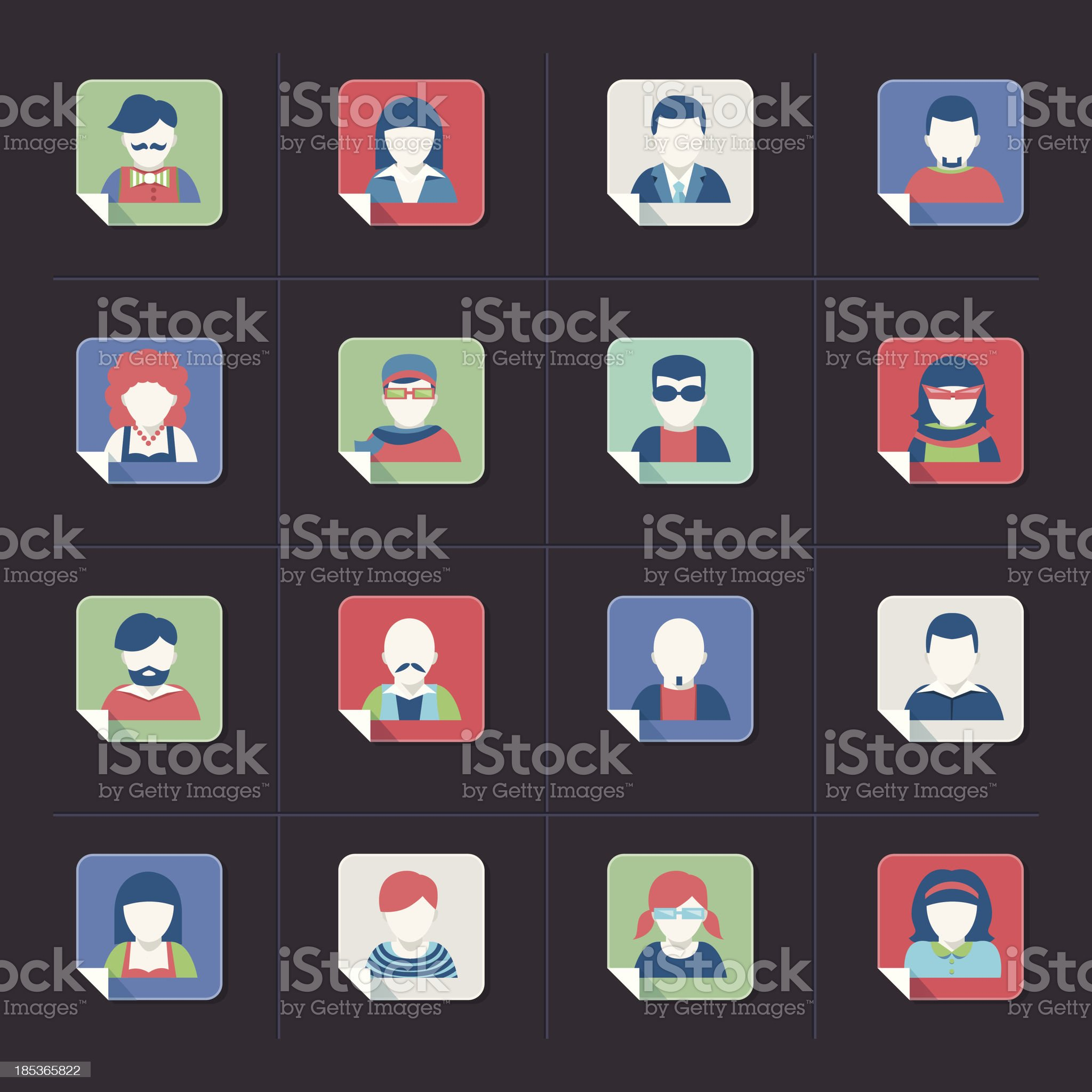 Avatar icon set, flat style royalty-free stock vector art