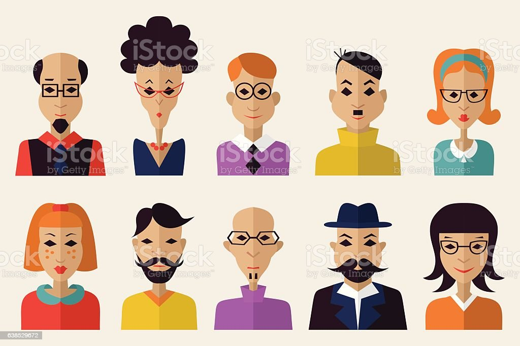 Avatar people head of the person vector art illustration