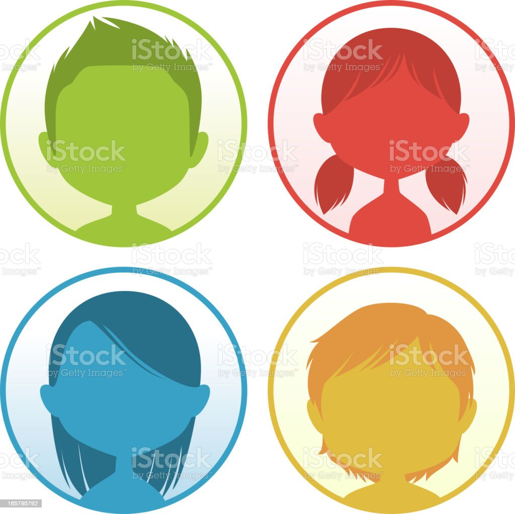 Avatar Profile Avatars Head and Shoulder People Four Colors cartoon royalty-free stock vector art