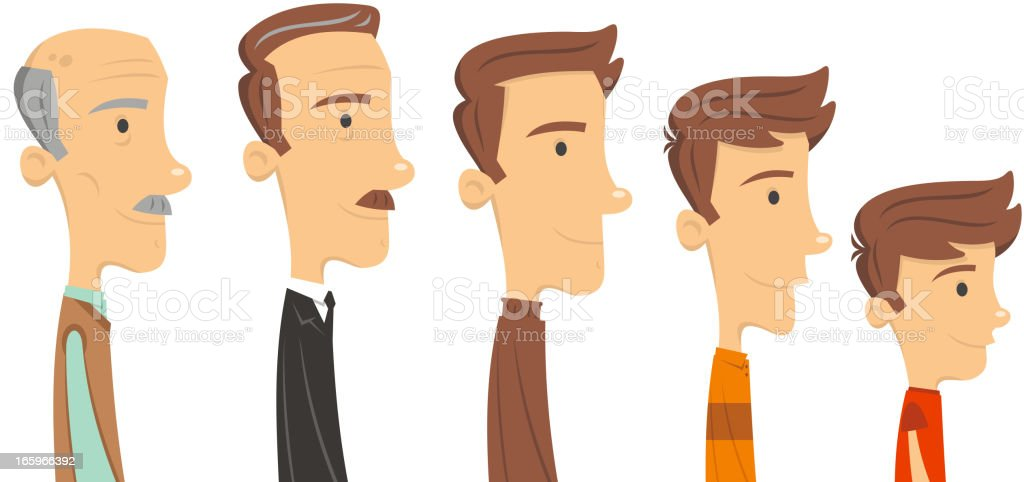 Avatar Profile Avatars Man through ages since childhood old age vector art illustration