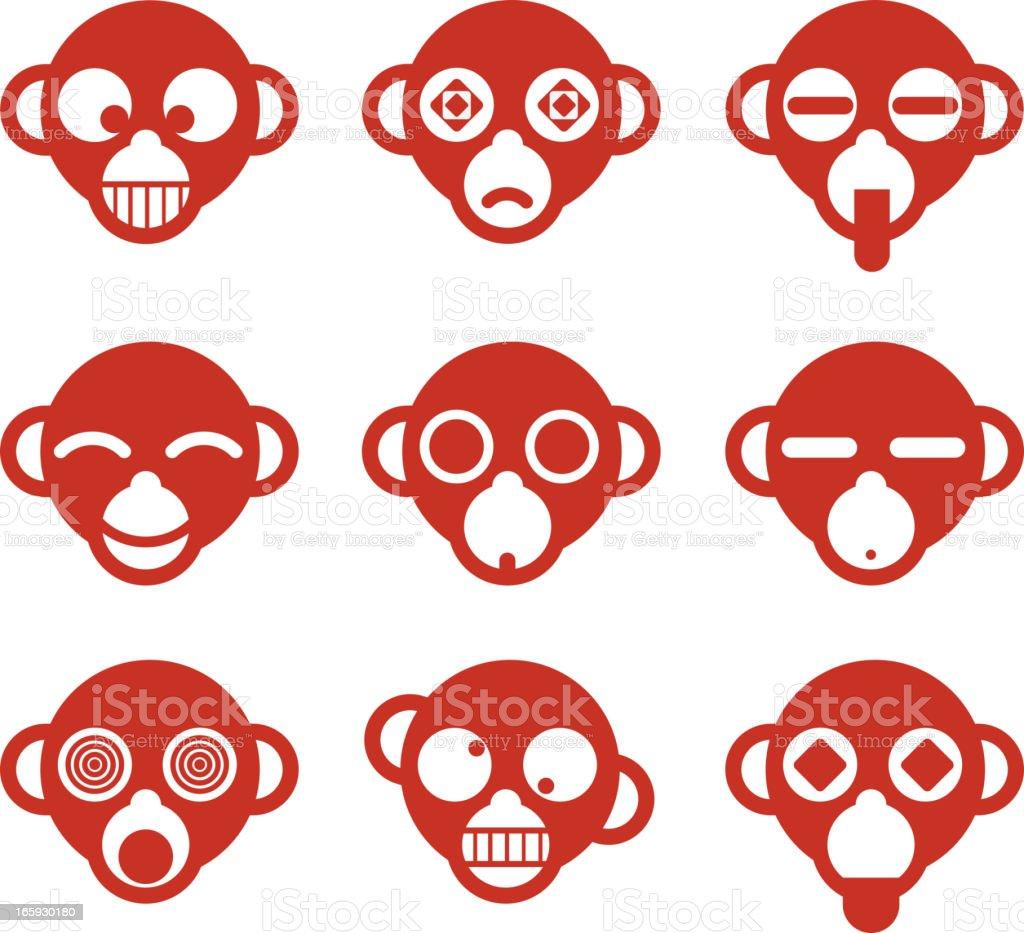 Avatar Profile Avatars Monkey Ape head Cartoon computer icon character vector art illustration