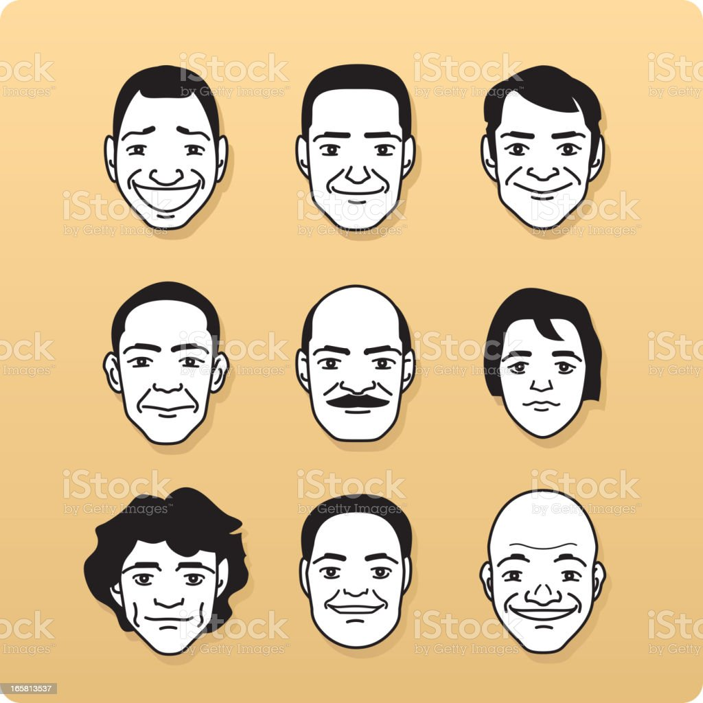Avatar Profile Avatars Single Line Head special characters People royalty-free stock vector art