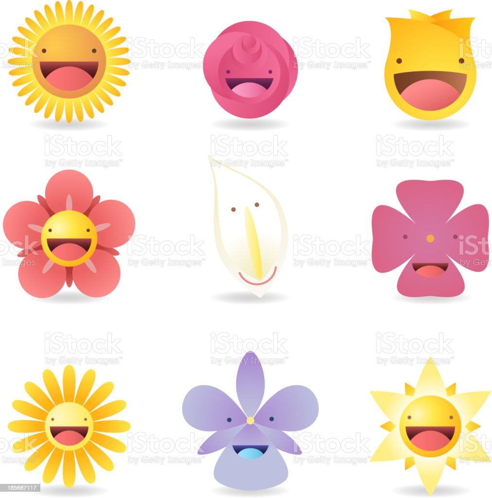 Avatar Profile Avatars Special characters Friendly Smiley Flowers Cartoon royalty-free stock vector art