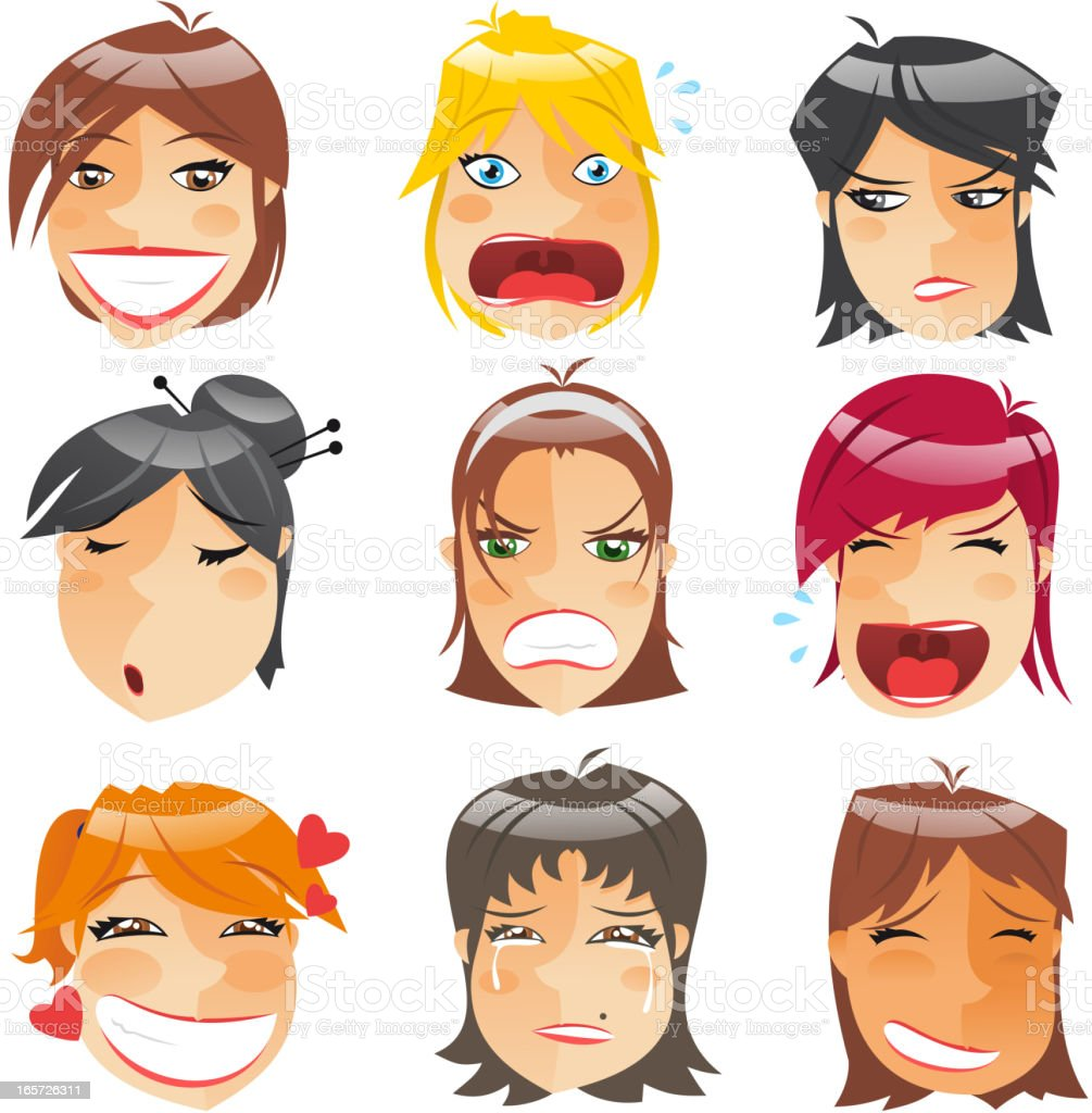 Avatar Profile Avatars Woman Head Character Expressions Front View vector art illustration