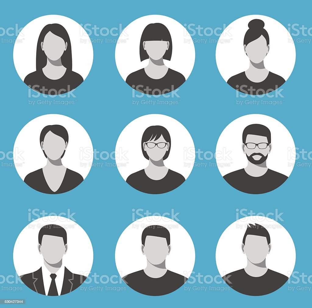 Avatar profile icon set including male and female. vector art illustration