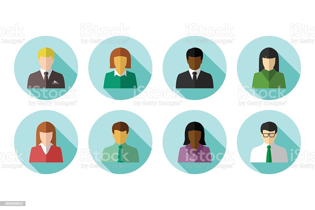 Avatar set of multiracial business people vector art illustration