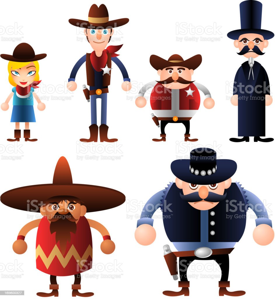 Avatar Wild West People Characters Costumes Avatars royalty-free stock vector art