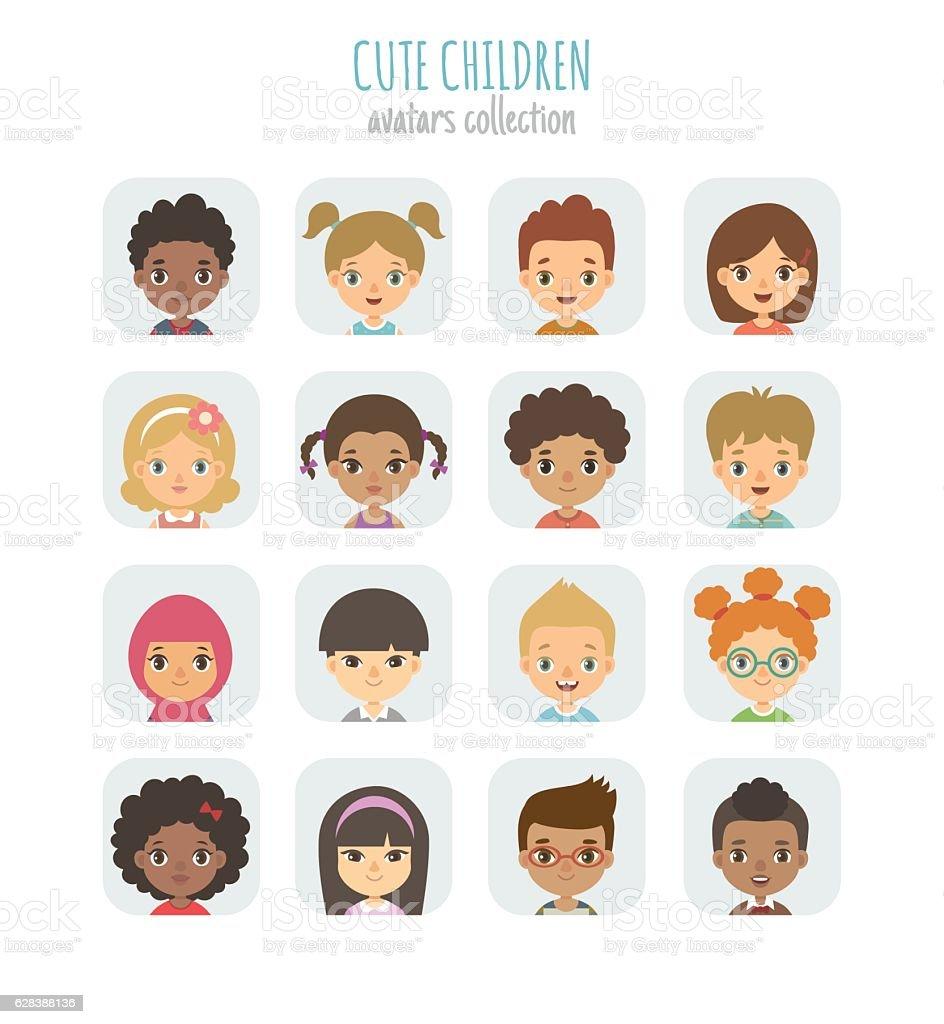 Avatars collection of cute children. vector art illustration