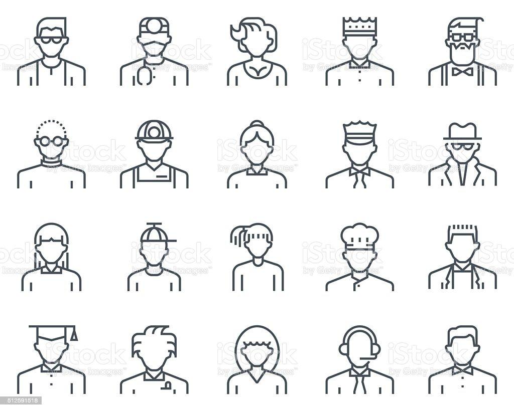Avatars icon set vector art illustration