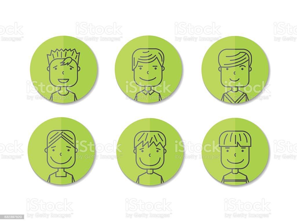 avatars men.cartoon illustration royalty-free stock vector art