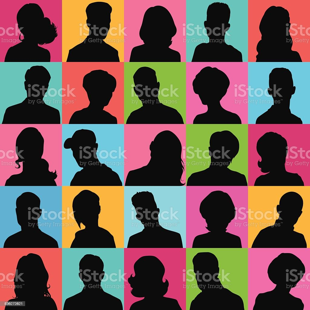 Avatars of silhouettes with different hairstyles. vector art illustration